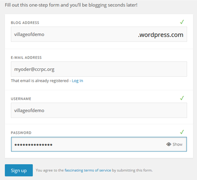 WordPress Sign-Up Form