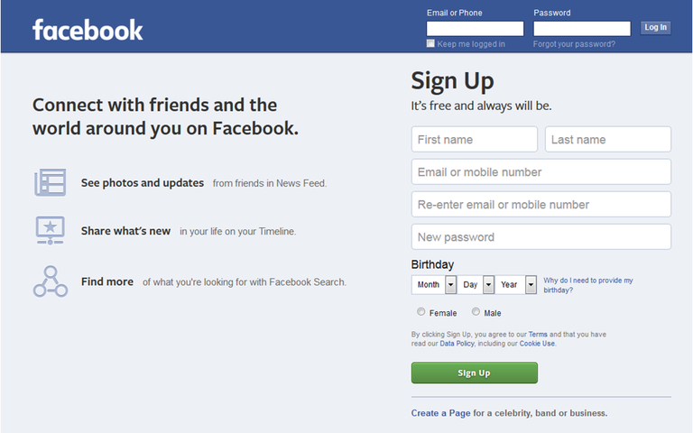 Facebook Sign-Up Form